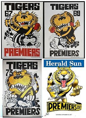 1967 1969 1973 2017  Richmond Premiers Weg Herald Sun Knight posters Limited Ed