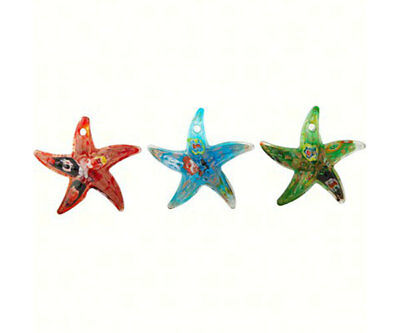 Collectible Blown Glass Creatures And Animals - Star Fish Set Of 3 - Ma-073