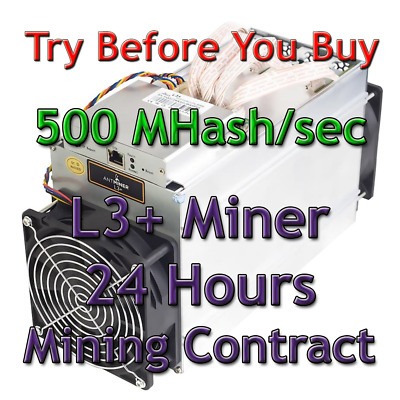 Bitmain Antminer L3+ 500 MHash/sec Guaranteed 24 Hours Mining Contract Scrypt