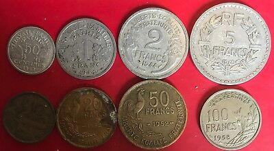 French Coin ( 8 Coins, From 1 Franc To 100 Francs)