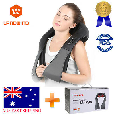 LANDWIND Shiatsu Neck Shoulder Back Massager 3D Kneading Pillow With Heat Deep