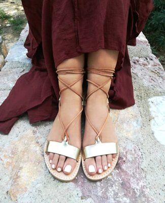 Ancient Greek style gladiator lace up leather sandals gold leather handmade