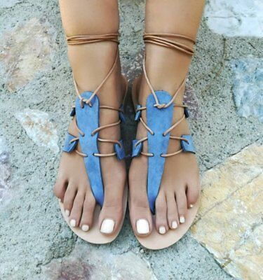 Ancient Greek style gladiator lace up leather sandals blue leather handmade