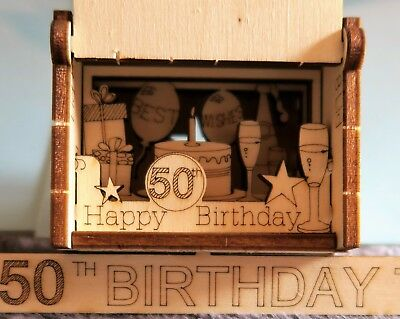 A5 Happy 50th Birthday Card Box Silhouette Unique Special Gift Popup 3d Wooden
