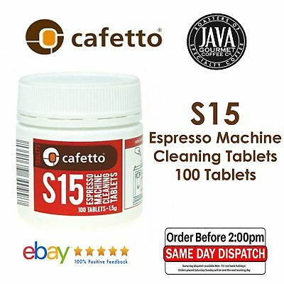 GENUINE CAFETTO S15 100 x ESPRESSO COFFEE MACHINE CLEANING TABLETS BACK FLUSH