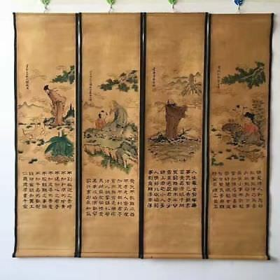 Rare Chinese Paper Ink Painting China Famous Aphorism Calligraphy Statue Scroll