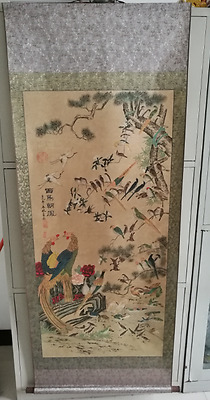"""Rare antique chinese museum painting scroll Landscape map""""百鸟朝凤"""""""