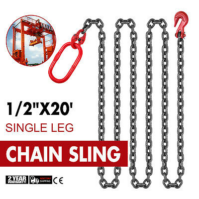 "1/2"" x20' Grade 80 Chain Sling 4.7T/10360lb Wear Resistance Steel Pipe Factories"