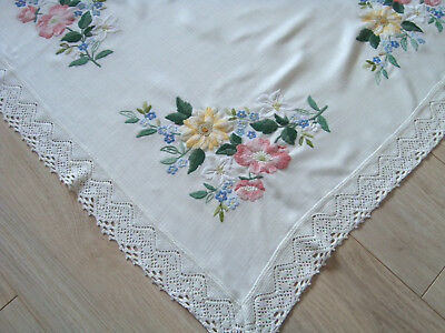 Vintage German Wonderful Hand embroidered Tablecloth Table runner with Lace