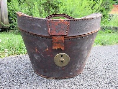 Antique Leather Hat Box Named Old Labels Grand Hotel Louvre Cabin & Berth No. !!