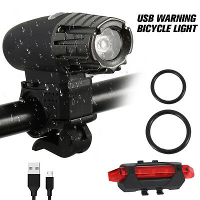 Bicycle Bike Lights USB LED Rechargeable Set Mountain Cycle Front Back Headlight
