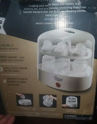 Tommee Tippee Closer to Nature Steam Sterilizer 5 Bottles 5 Minutes Kills 99.9%