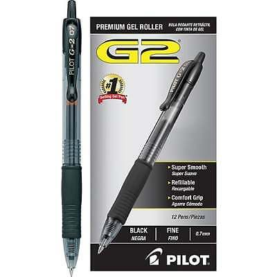 Pilot G2 Retractable Premium Gel Ink Roller Ball Pens Black Ink Fine Point 0.7mm