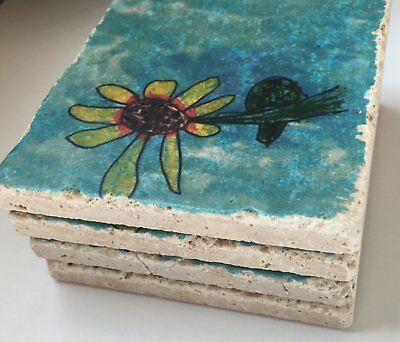 Custom Coasters with Your Art Natural Stone Coaster Set of 4 Child Artwork