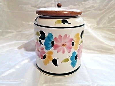 "Vintage 1960's/1970's Toni Raymond Pottery Round Storage Jar With Lid (6.5""tall)"