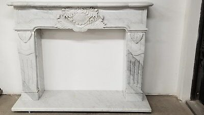 Gorgeous classical White Carrara Italian Marble Fireplace Mantel