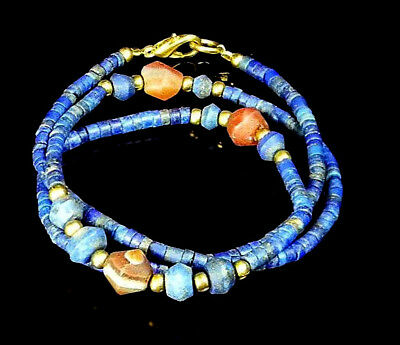 NICE Collection Antique Lapis Spindle Diamond Shape Carnelian Bead Necklace