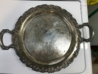 Vintage Oneida Fancy Silver Serving Tray/platter With Handles 15""