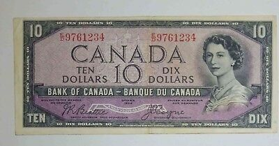 1954 $10 Canada Dollar - Beattie Coyne - Devil's Face - Serial ED9761234 ( VF )