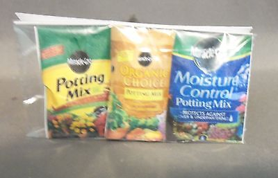 Dollhouse Miniature 1:12 Scale Assorted bag of 3 Large Potting Soil bags