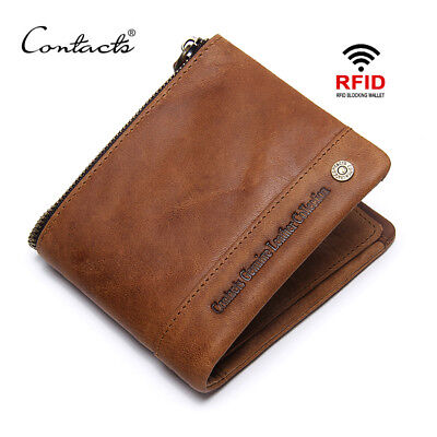 Contacts® Men's RFID-Blocking Bifold Wallet Genuine Leather Zipper Purses