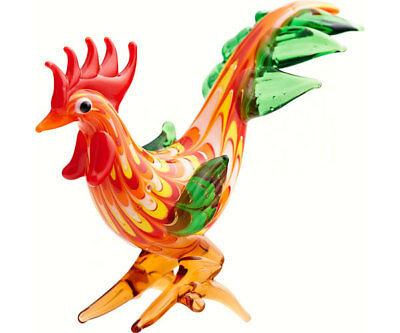 Collectible Blown Glass Creatures And Animals - Rooster Red/yellow  - Ma-092