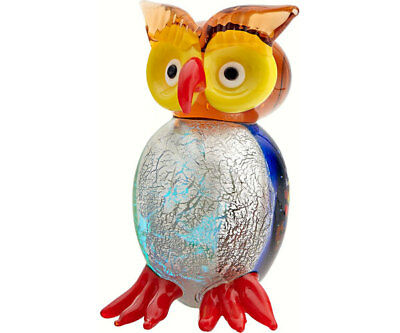 Collectible Blown Glass Creatures And Animals -  Owl Wide Eyes - Ma-095
