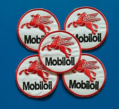 5 LOT MOBIL GASOLINE OIL Embrodered Iron Or Sewn On UNIFORM  Patches Free Ship