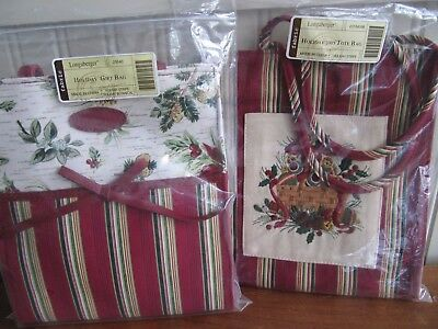 Lot of 2 LONGABERGER Christmas  Holiday 2005 Tote Bag & Gift Bags - NIP