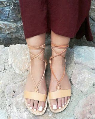 Ancient Greek style gladiator lace up leather sandals natural leather handmade