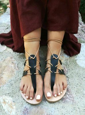 Ancient Greek style gladiator lace up leather sandals black leather handmade