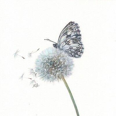 """ORIGINAL Watercolour Painting 8""""x8"""" - Black and White Butterfly on White Dandeli"""