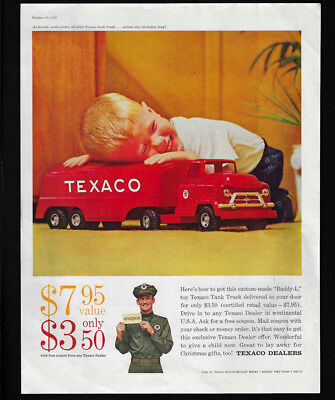 1959 Vintage Print Ad 50's TEXACO DEALERS tank truck boy red image