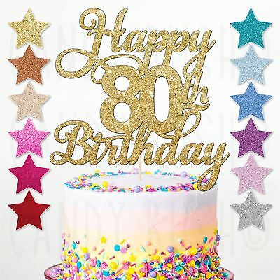 Happy 80th Glitter Birthday Party Cake Topper Sixty Daughter Son Sister Brother