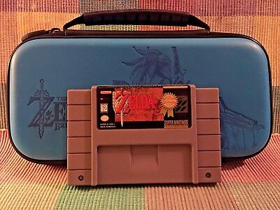 The Legend of Zelda A Link to the Past Super Nintendo + BREATH OF THE WILD CASE