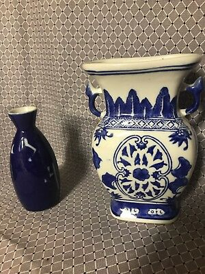 Vintage Asian Blue & White Vase Planter