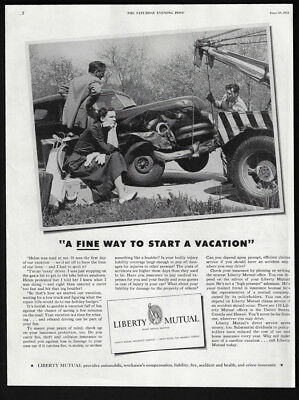1951 Vintage Print Ad 50s LIBERTY MUTUAL car accident image tow truck photo