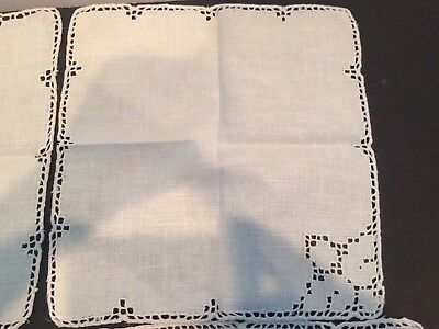 Antique Victorian Handmade cut Lace With Tea Table Cloth And 4 Tea Napkins