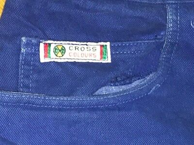 Vintage 1990's Cross Colours (colors) Baggy Shorts Aqua Blue Size 40