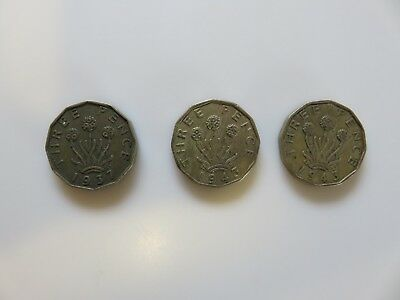 United kingdom Great Britain 3 Pence 1937, 1943(2)  3 coins total