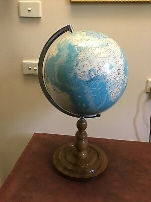 Vintage Large word globe 70' . Wooden And Metal Stand Made In Japan Pick Up 3163