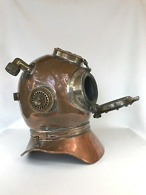 Vintage WW2 Maritime Siebe Gorman Mine Clearance Re-breather Diver Diving Helmet