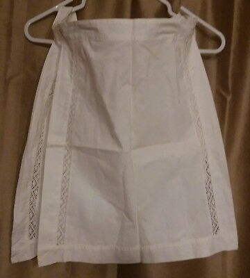 Lot of Two Vintage Antique Small White Aprons w. Crochet Trim Made in U.K.