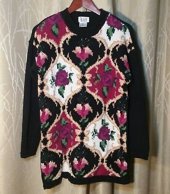 Vintage 80's Women's Med. Sweater by KARI, 100% Cotton, Black/White/Multi Floral
