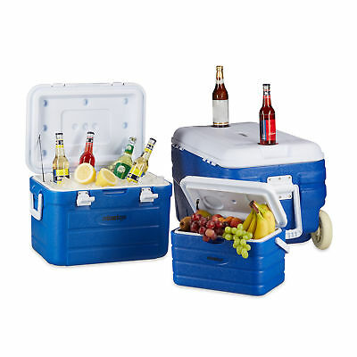 Cool Box Set of 3, Coolers of 10, 30 and 80 L, Rolling Cooler with Handles, Car