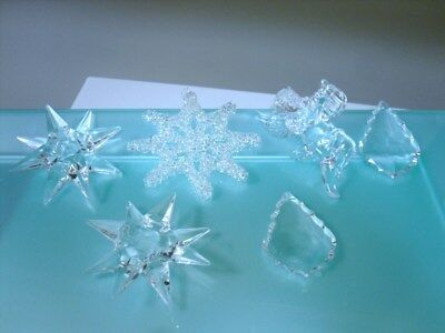 6 Clear Acrylic Variety of Christmas Tree Ornaments-Stars,Snowflake,Angel ect..