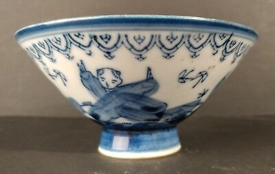 Vintage Blue and White Chinese Porcelain Bowl