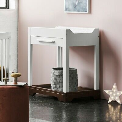 Baby Change Table Centre Station W/ Storage Drawer & Bottom Shelf White Espresso
