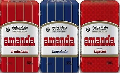 Amanda Yerba Mate Tea SAMPLER Pack - 3 x 150g each - Produced in Argentina