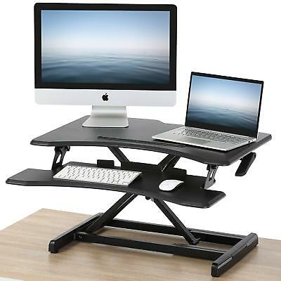 Height Adjustable Table Top Computer Monitor Riser Office Standing Desk Keyboard